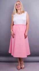 Тереза. Габардиновая юбка плюс сайз. Розовый.