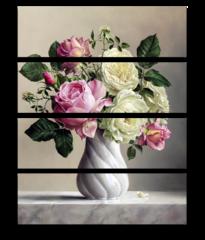 """Модульная картина """"Розы в вазе"""""""