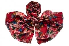 Палантин из вискозы бордовый с цветами 1301