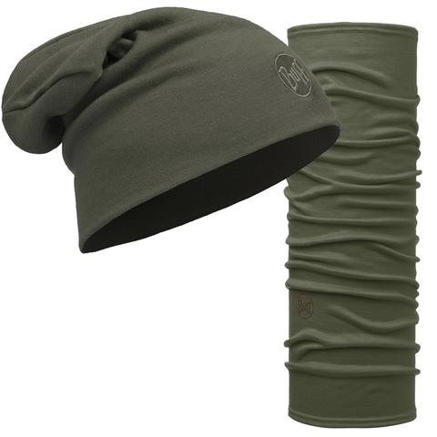 Комплект шапка шарф из шерсти Buff Solid Forest Night