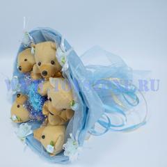 Букет из 5 золотых мишек — Голубых