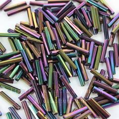 59195 Бисер Preciosa стеклярус граненый 11х2 мм, Ирис фиолетовый