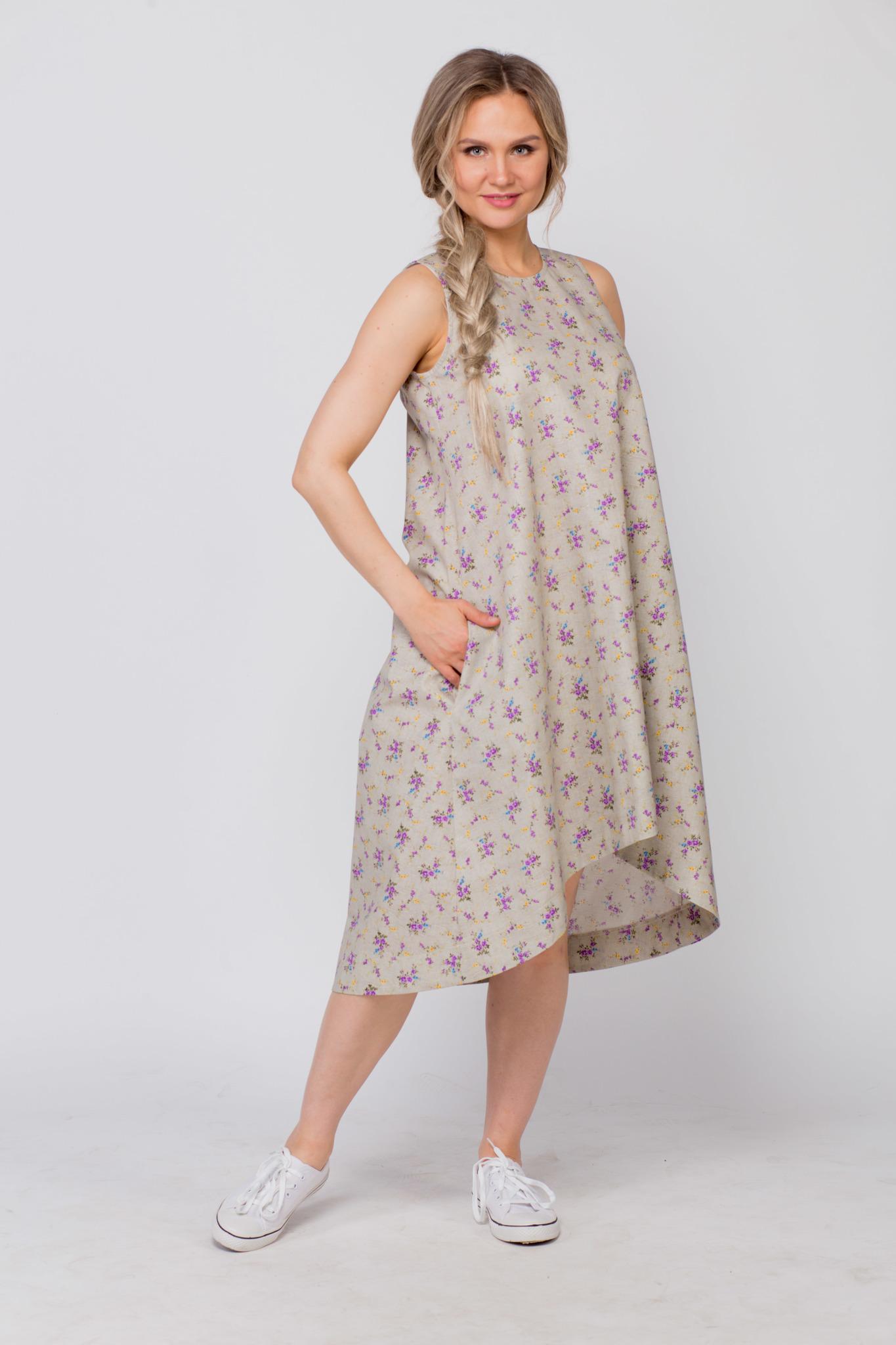 Платье льняное Очарование с карманами