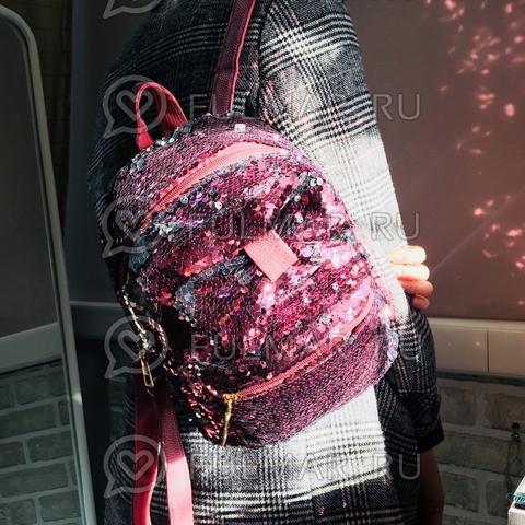 Рюкзак с пайетками и Бантом меняет цвет Розовый-Серебристый