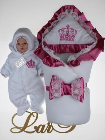 Зимний набор на выписку из роддома Очарование - 3 предмета (белый\розовый)