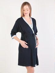 Euromama/Евромама. Комплект для беременных и кормящих двухцветный, рукав 3/4, темно-синий, фото 1
