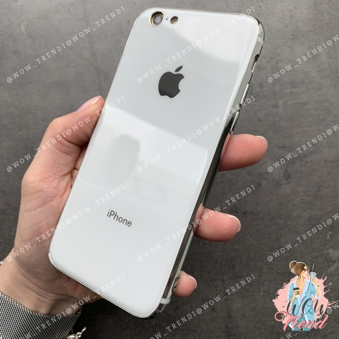 Чехол iPhone 7/8 Glass Silicone Case Logo /white/