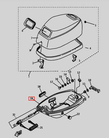 Поддон двигателя для лодочного мотора T9.8 Sea-PRO (1-19)