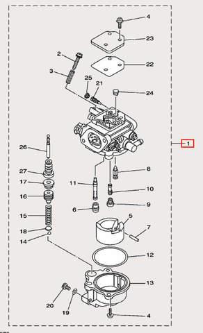 Карбюратор для лодочного мотора F9,9 Sea-PRO (7-1)