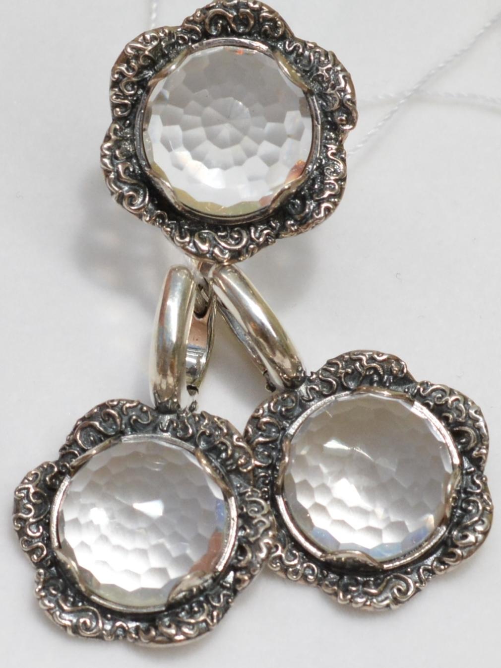 Подсолнухи (кольцо + серьги из серебра)