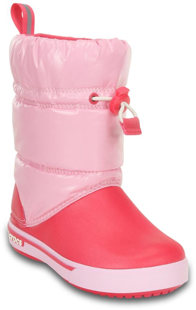 Детские сапожки дутики Crocband™ Iridescent Gust Boot Kids Ballerina Pink/Poppy крокс фото