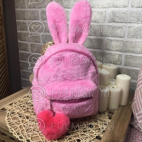 Рюкзак с ушами зайца плюшевый Розовый с брелком сердце