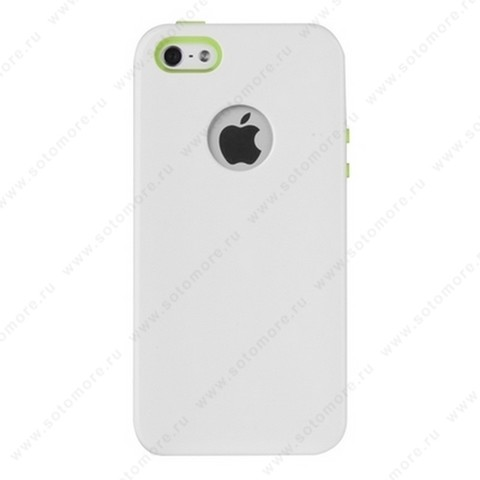 Накладка REMAX для iPhone SE/ 5s/ 5C/ 5 с отверстием под яблоко белая с салатовым кантом
