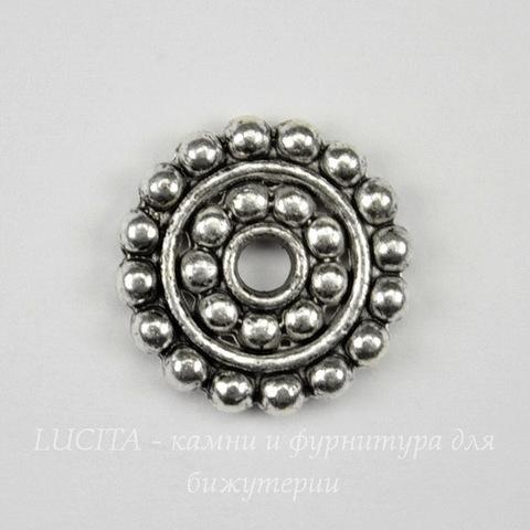 Бусина металлическая - рондель (цвет - античное серебро) 14 мм