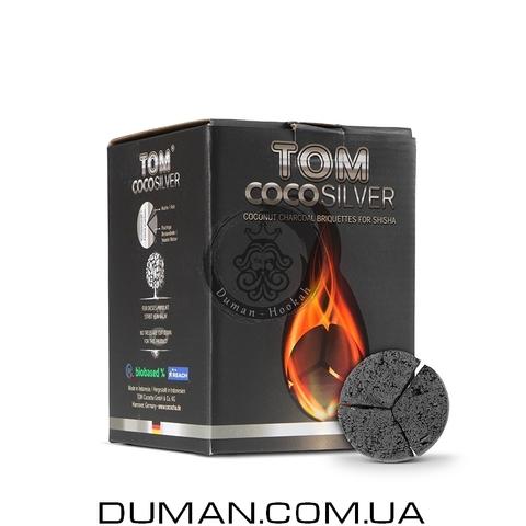 Натуральный кокосовый уголь для кальяна Tom Cococha Silver (Том Кокоча) |1кг 60 шт 50*27мм под калауд