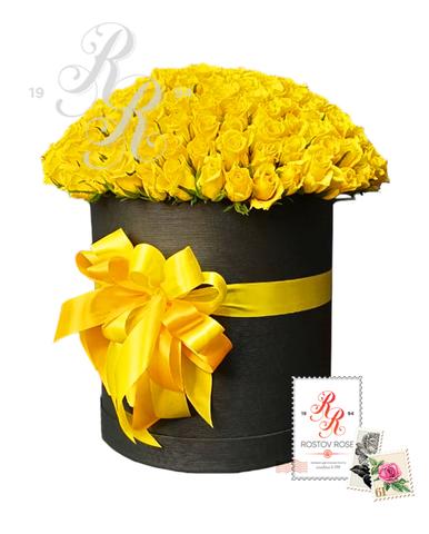 101 Желтая роза в коробке