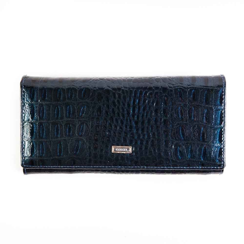 Синий кошелёк женский лаковый Coscet нат.кожа CS21-201E