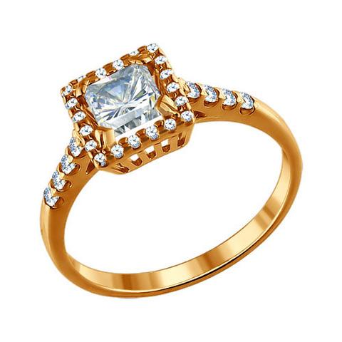 Кольцо из золочёного серебра с фианитами от SOKOLOV