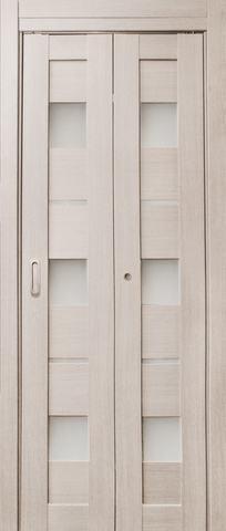 > Экошпон складная Дубрава Сибирь Параллель (2 полотна + 2 петли), стекло матовое, цвет лиственница, остекленная