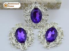 Камни в ажурной серебряной оправе фиолетовые (УЦЕНКА)