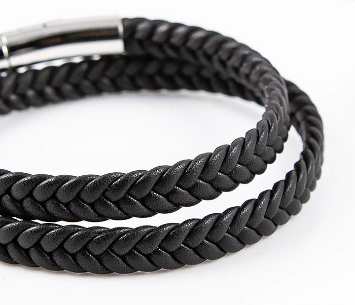 BM566-1 Двойной браслет шнур из кожи черного цвета фото 04