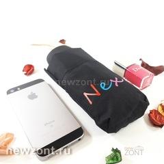 Черный приплюснутый карманный зонтик NEX с яркими брызгами