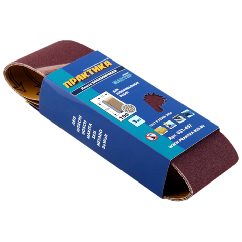 Лента шлифовальная ПРАКТИКА   75 х 533 мм P100 (3шт.) картонный подвес
