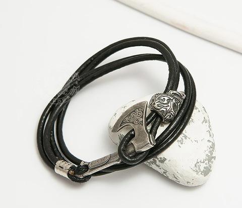 BD001-156 Браслет ручной работы из шнура с бронзовым черепом и топором