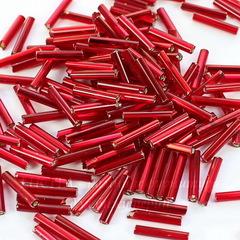 97090 Бисер Preciosa стеклярус граненый 11х2 мм, прозрачный темно-красный с серебряным центром (кв. отв.)