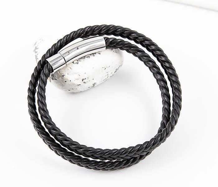 BM566-1 Двойной браслет шнур из кожи черного цвета фото 05