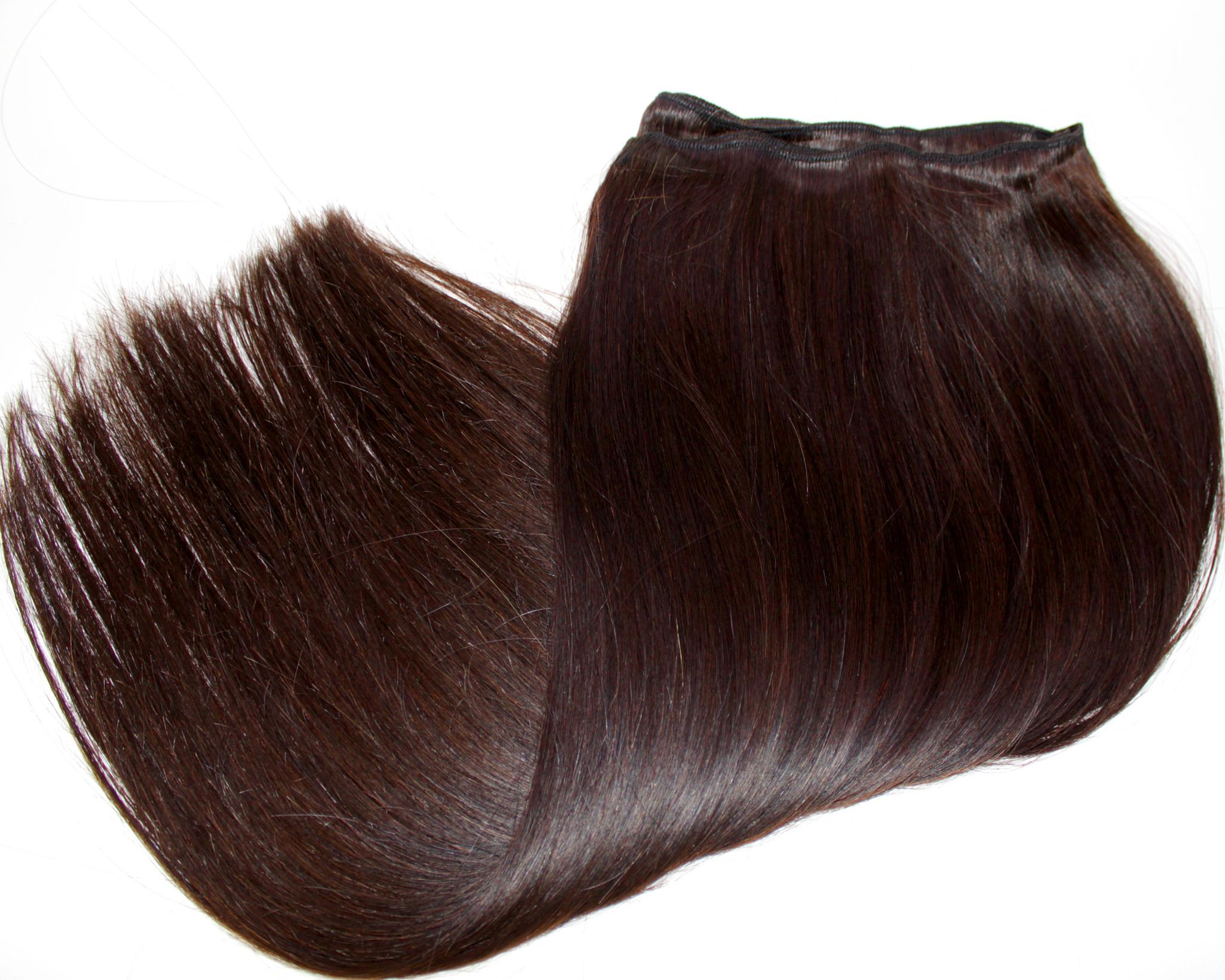 Тресс из натуральных волос длина 52 см,цвет #4- шоколад