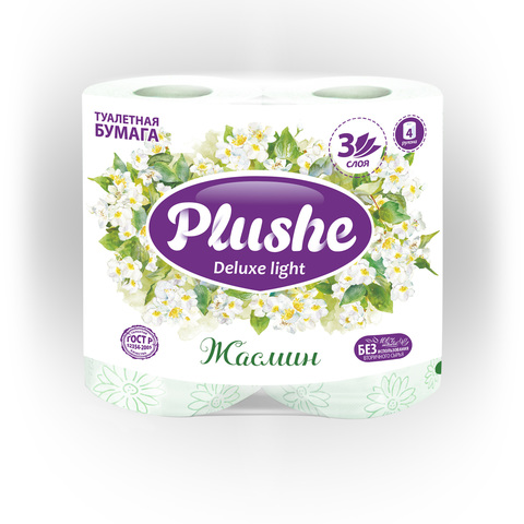"""Туалетная бумага """"Plushe Deluxe Light""""  Арома Жасмин 3сл 4шт"""