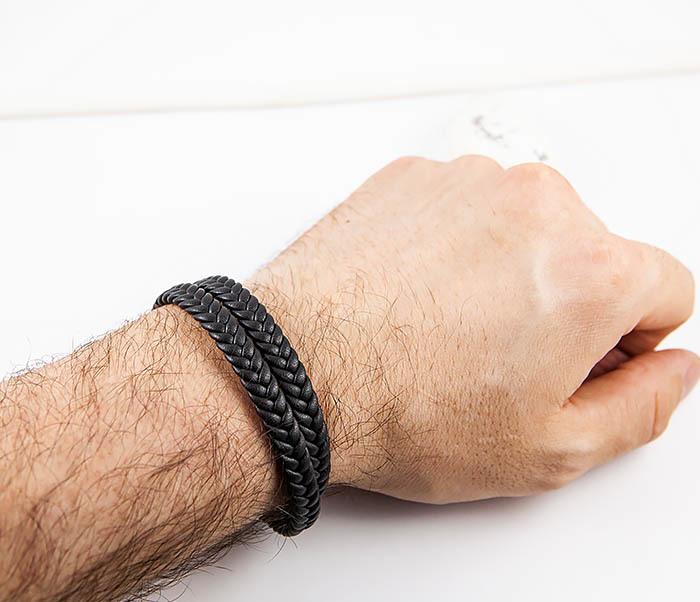 BM566-1 Двойной браслет шнур из кожи черного цвета фото 06
