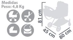 DeCuevas Коляска трансформер 3 в 1 серии Романтик, 81см (80725)
