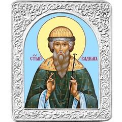Святой Вадим. Маленькая икона в серебряной раме.