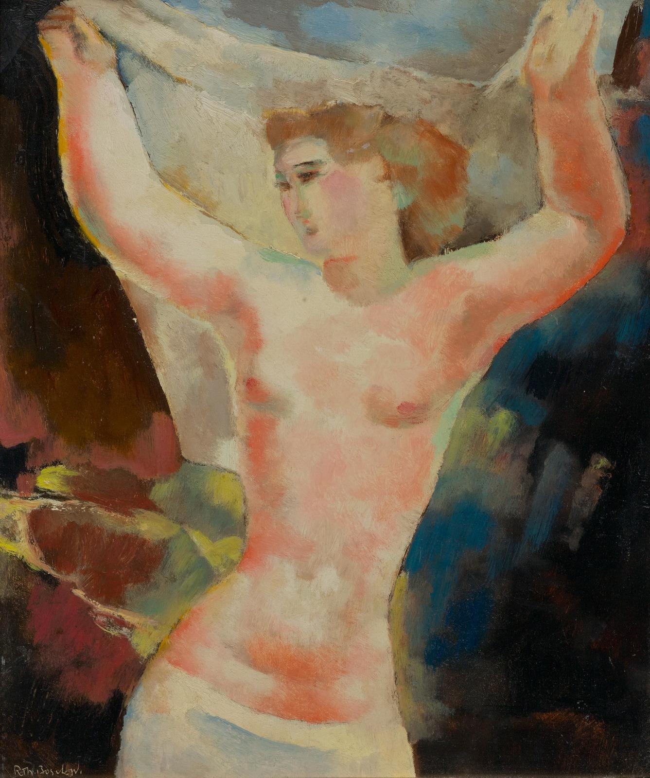 Рудольф-Теофил Босхард. 1928. Обнаженная с поднятыми руками (Nu aux bras leves). 41 x 32.5. Частное собрание.