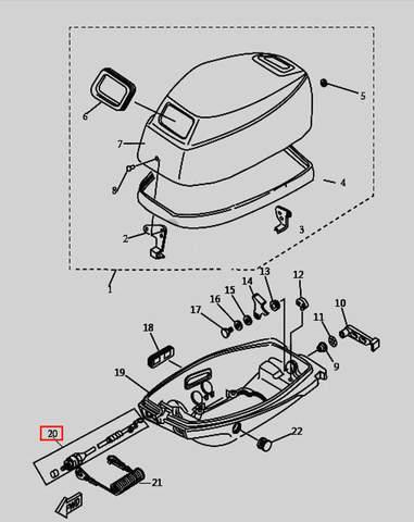 Кнопка остановки двигателя для лодочного мотора T9.8 Sea-PRO (1-20)