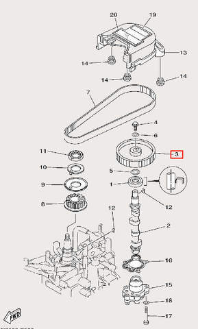 Шкив распредвала 32 для лодочного мотора F9,9 Sea-PRO (8-3)