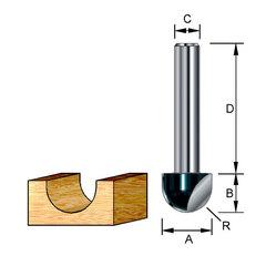Пазовая галтельная фреза 12,7*32*9,5*8 мм; R=6,5 мм