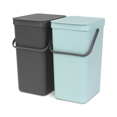 Встраиваемые мусорные ведра Sort & Go (2 x 16 л), Мятный/серый, арт. 110023 - фото 1