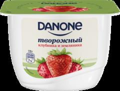 """Йогурт творожный """"Danone"""" клубника и земляника 170г"""