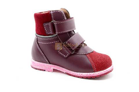 Ботинки для девочек Лель (LEL) из натуральной кожи на байке на липучках цвет бордо. Изображение 2 из 17.