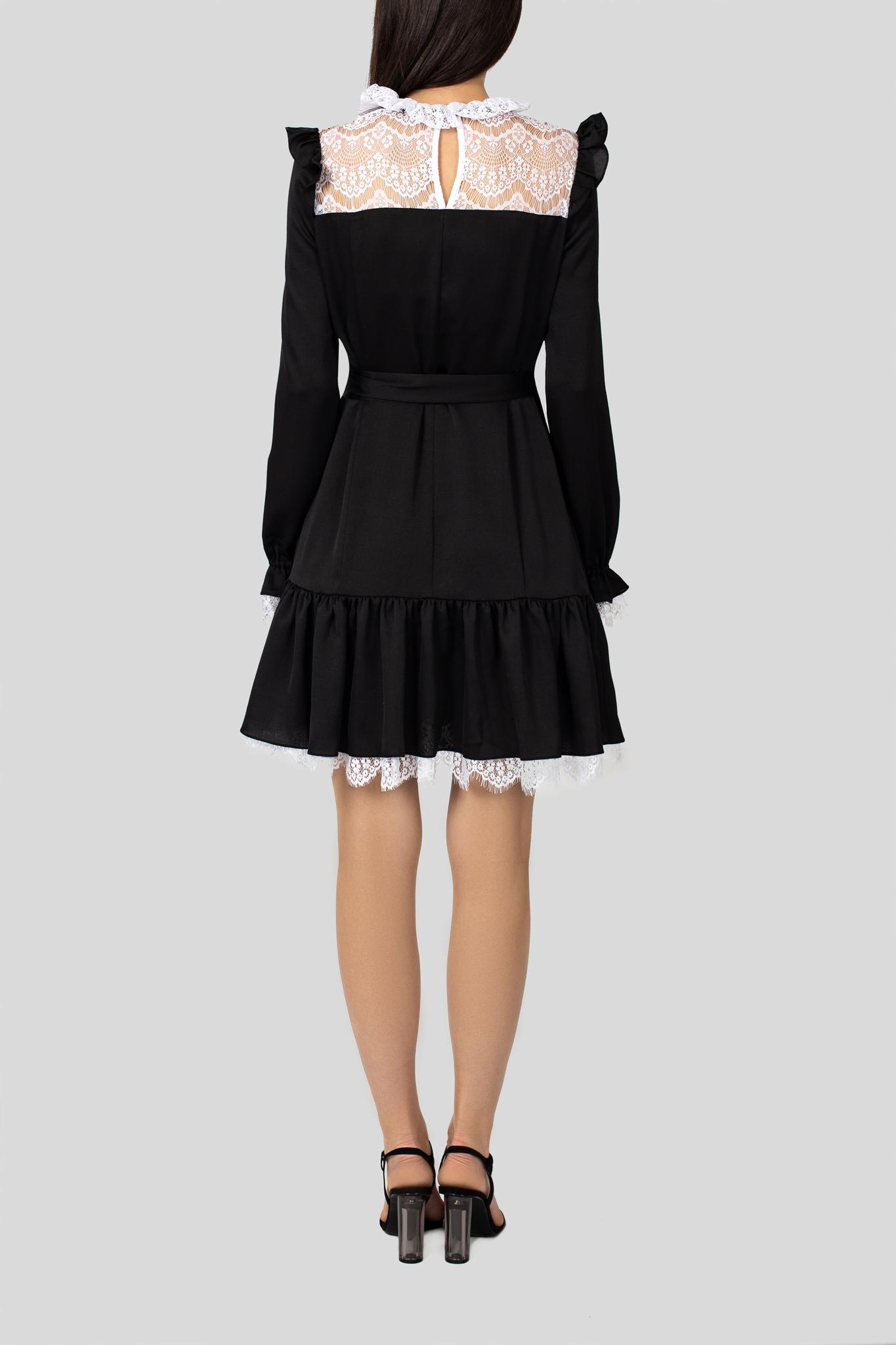 Платье шелковое черное с белым кружевом
