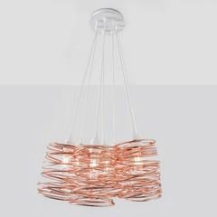 Spiral Nest Cluster 7 Light Chandelier, Copper -Open Box