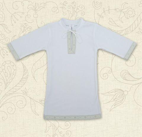 Рубашка для крещения Крістіан белый с серебром