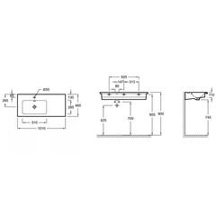 Раковина подвесная Jacob Delafon Vox 100х46см. EXAC112-Z-00 (левая) схема