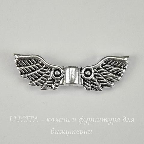 """Бусина металлическая """"Крылья ангела"""" (цвет - античное серебро ) 22х7 мм"""