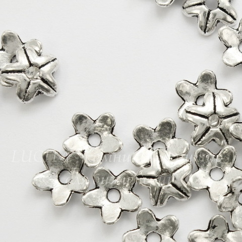 Шапочка для бусины 9х3 мм (цвет - античное серебро), 10 штук