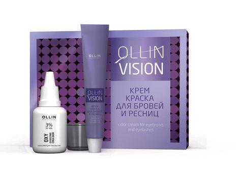OLLIN vision set brown (коричневый) крем-краска для бровей и ресниц 20мл (в наборе)
