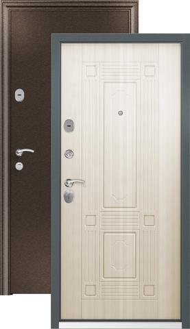 Дверь входная Стел 7, 2 замка, 1,5 мм  металл, (медь антик+перламутр белый)